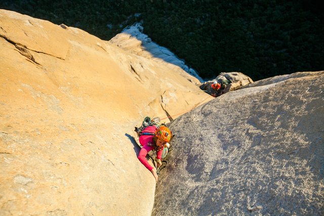 Libby Sauter climbing Yosemite's Salathe Wall. (Courtesy Cheyne Lempe)