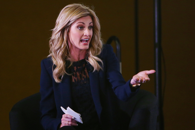 Feb 2, 2016; San Francisco, CA, USA; Erin Andrews moderates the Microsoft future of football press conference at Moscone Center in advance of Super Bowl 50 between the Carolina Panthers and the De ...