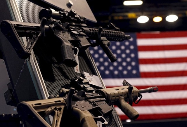 An exhibit booth for firearms manufacturer Smith & Wesson is seen on display at the International Association of Chiefs of Police conference in Chicago, Illinois, in this Oct. 26, 2015, file p ...