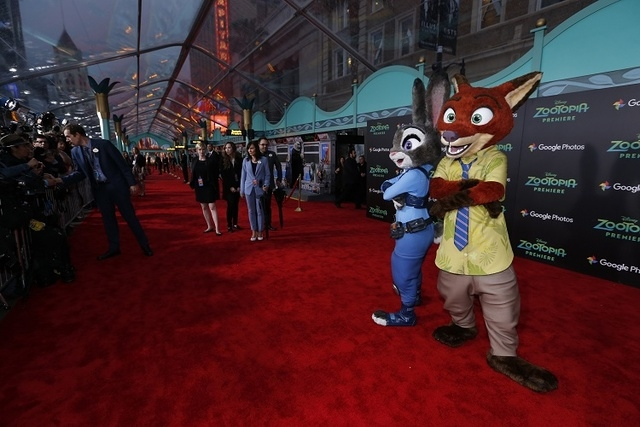 "The characters of Judy Hopps and Nick Wilde pose at the premiere of ""Zootopia"" at El Capitan theatre in Hollywood, California February 17, 2016. The movie opens in the U.S. on March 4. (Reuters/Ma ..."