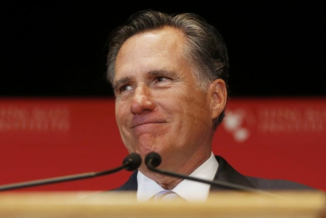 Former Republican presidential nominee Mitt Romney speaks critically about current Republican presidential candidate Donald Trump and the state of the 2016 Republican presidential campaign during  ...
