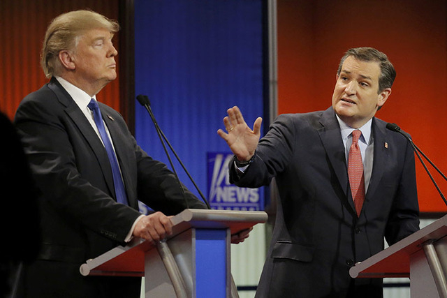 Republican U.S. presidential candidate Ted Cruz gestures over at rival candidate Donald Trump (L) at the U.S. Republican presidential candidates debate in Detroit, Michigan, March 3, 2016. REUTERS ...