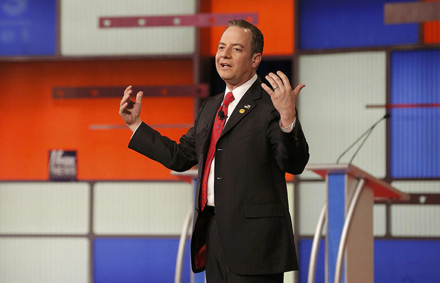 Republican National Committee Chairman Reince Priebus speaks to the audience before the start of the U.S. Republican presidential candidates debate in Detroit, Michigan, March 3, 2016. REUTERS/Jim ...