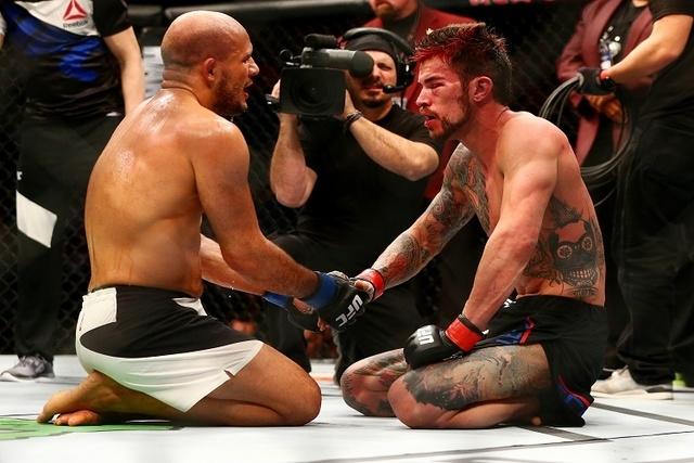 March 5, 2016; Las Vegas, NV, USA; Siyar Bahadurzada meets with Brandon Thatch following their match during UFC 196 at MGM Grand Garden Arena. (Reuters/Mark J. Rebilas-USA TODAY Sports)