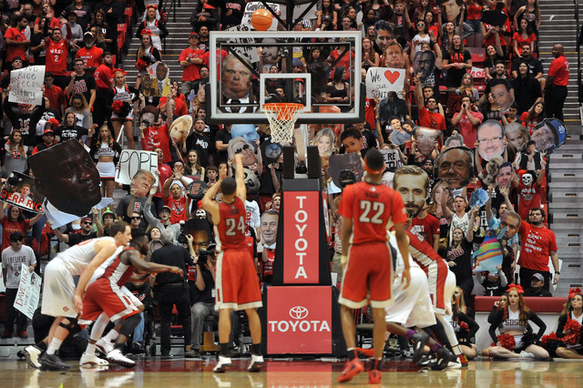 Mar 5, 2016; San Diego, CA, USA; UNLV Rebels guard Jalen Poyser (24) is distracted by the San Diego State Aztecs student section while shooting a free throw at Viejas Arena at Aztec Bowl. The Azte ...