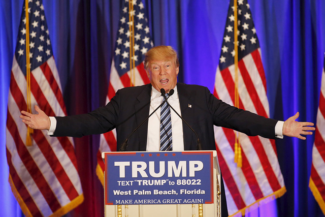 U.S. Republican presidential candidate Donald Trump speaks at a press event at his Trump International Golf Club in West Palm Beach, Florida, March 5, 2016. (Joe Skipper/Reuters)