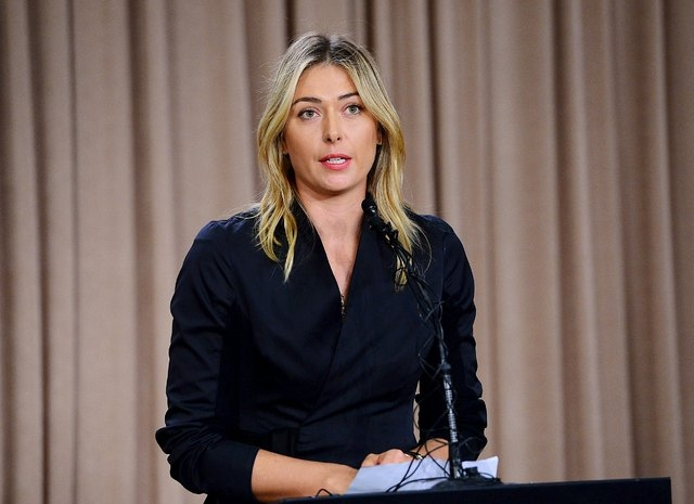 Mar 7, 2016; Los Angeles, CA, USA; Maria Sharapova speaks to the media announcing a failed drug test after the Australian Open during a press conference today at The LA Hotel Downtown. (Jayne Kami ...
