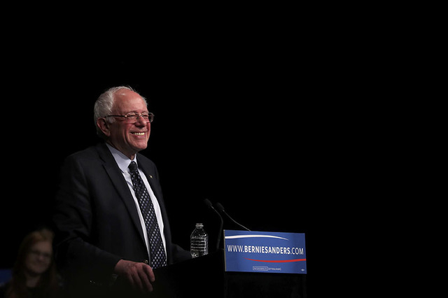 Democratic U.S. presidential candidate Senator Bernie Sanders smiles as he speaks to supporters on the night of the Michigan, Mississippi and other primaries at his campaign rally in Miami, Florid ...