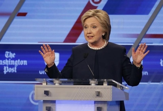 Democratic U.S. presidential candidate Hillary Clinton speaks during the Univision News and Washington Post Democratic U.S. presidential candidates debate in Kendall, Florida March 9, 2016. REUTER ...