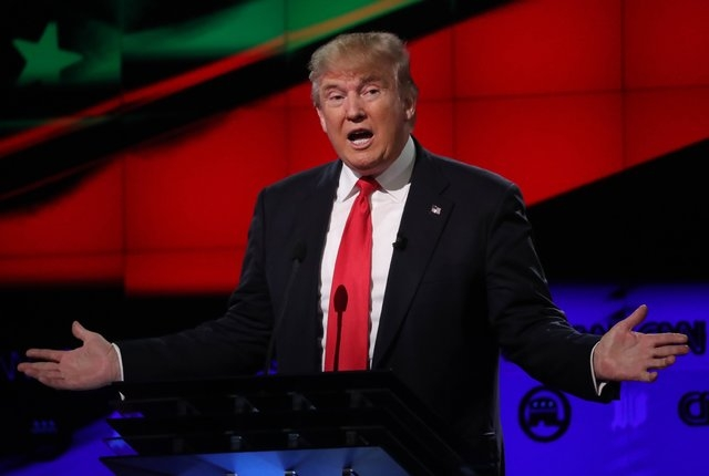 Donald Trump speaks during the Republican candidates debate sponsored by CNN at the University of Miami in Florida on Thursday. (Carlo Allegri/Reuters)