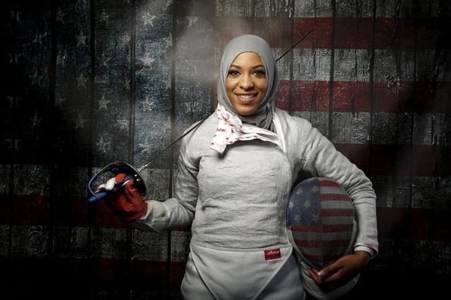 U.S. Olympic team fencer Ibtihaj Muhammad poses for a portrait at the U.S. Olympic Committee Media Summit in Los Angeles on March 9, 2016. REUTERS/Lucy Nicholson