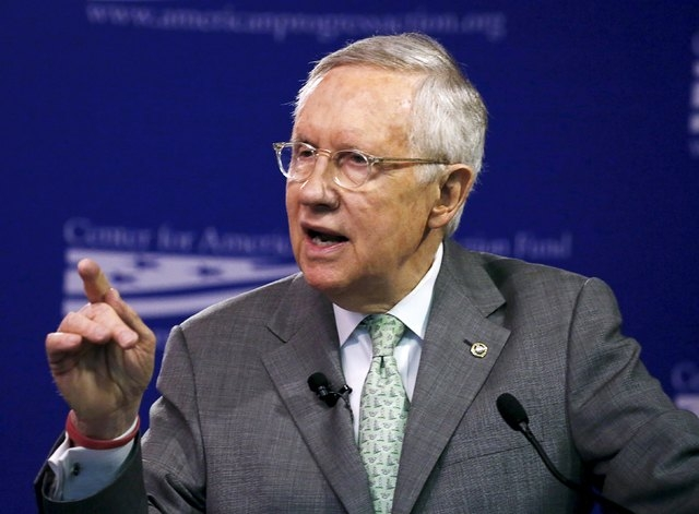U.S. Sen. Harry Reid, D-Nev., discusses the candidacy of Republican presidential candidate Donald Trump while speaking at the Center for American Progress Action Fund in Washington, March 17, 2016 ...