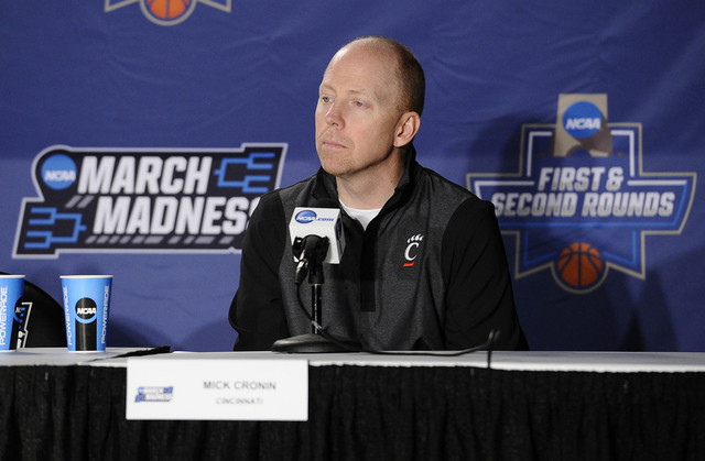 Mar 17, 2016; Spokane, WA, USA; Cincinnati Bearcats head coach Mick Cronin speaks to media during a practice day before the first round of the NCAA men's college basketball tournament at Spokane V ...
