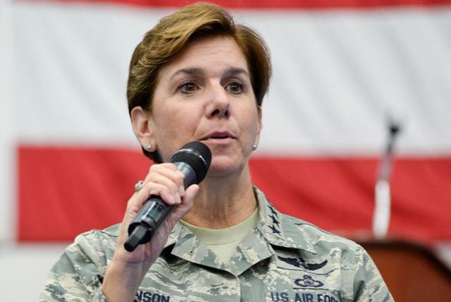U.S. Air Force General Lori Robinson, Pacific Air Forces commander, addresses Airmen at Andersen Air Force Base, Guam July 10, 2015. (U.S. Air Force/Senior Airman Katrina M. Brisbin/Handout via Re ...