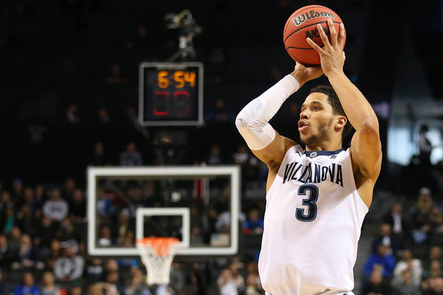 Mar 18, 2016; Brooklyn, NY, USA; Villanova Wildcats guard Josh Hart (3) shoots against the North Carolina-Asheville Bulldogs in the first half during the first round of the 2016 NCAA Tournament at ...