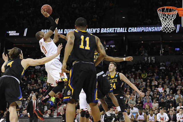 March 18, 2016; Spokane , WA, USA; Maryland Terrapins guard Rasheed Sulaimon (0) shoots against South Dakota State Jackrabbits during the second half at Spokane Veterans Memorial Arena. (Kyle Tera ...