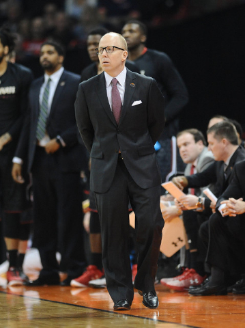 Cincinnati Bearcats head coach Mick Cronin against St. Joseph's Hawks during the first half Friday in the first round of the NCAA Tournament at Spokane Veterans Memorial Arena in Washington. (Jame ...