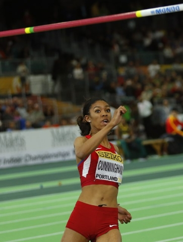 Vashti Cunningham of the U.S. prepares to jump on her way to the gold medal in the women's high jump during the IAAF World Indoor Athletics Championships in Portland, Oregon March 20, 2016.  REUTE ...