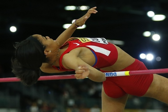 Vashti Cunningham of the U.S. competes on the way to winning the women's high jump gold medal during the IAAF World Indoor Athletics Championships in Portland, Oregon March 20, 2016.  (REUTERS/Mik ...