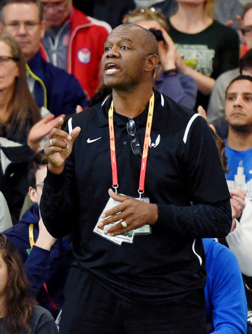 Mar 20, 2016; Portland, OR, USA; Randall Cunningham coaches his daughter Vashti Cunningham (not pictured) in the womens high jump during the 2016 IAAF World Championships in Athletics at the Orego ...