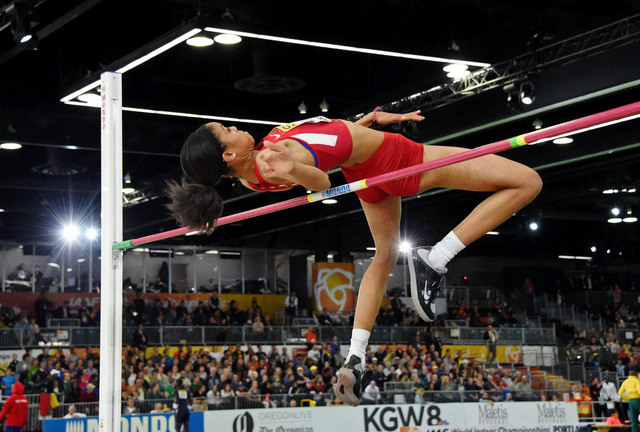 Mar 20, 2016; Portland, OR, USA; Vashti Cunningham (USA) wins the womens high jump at 6-5 (1.96m) during the 2016 IAAF World Championships in Athletics at the Oregon Convention Center. Mandatory C ...