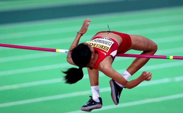 Mar 20, 2016; Portland, OR, USA; Vashti Cunningham (USA) wins the women high jump (1.96) at Oregon Convention Center. Mandatory Credit: Scott Olmos-USA TODAY Sports