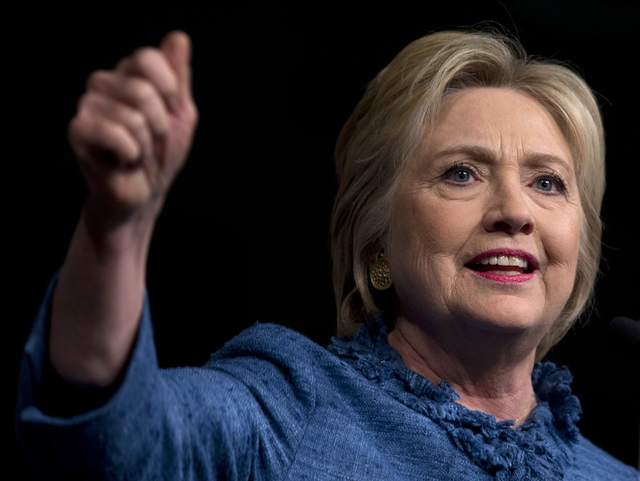 Democratic presidential candidate Hillary Clinton speaks during an election night event at the Palm Beach County Convention Center in West Palm Beach, Fla., Tuesday, March 15, 2016. (AP Photo/Caro ...