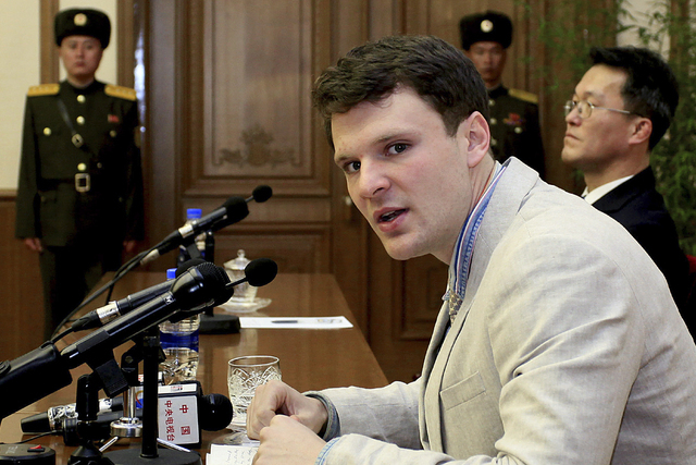 In this Feb. 29, 2016, file photo, American student Otto Warmbier speaks as he is presented to reporters in Pyongyang, North Korea. North Korea's highest court on Wednesday, March 16, 2016, senten ...