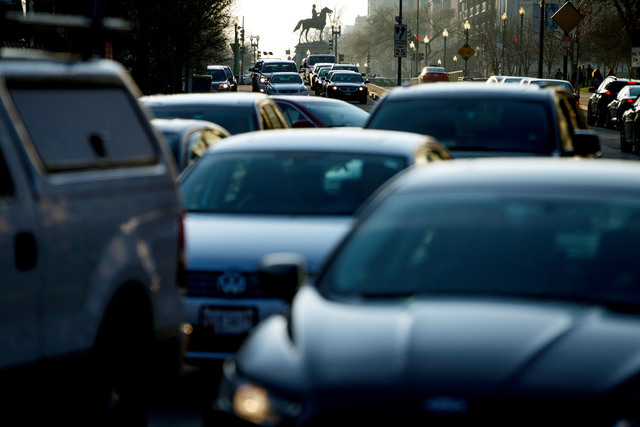 Morning traffic builds on Massachusetts Avenue in Washington, Wednesday, March 16, 2016. The Metro subway system that serves the nation's capital and its Virginia and Maryland suburbs shut down fo ...