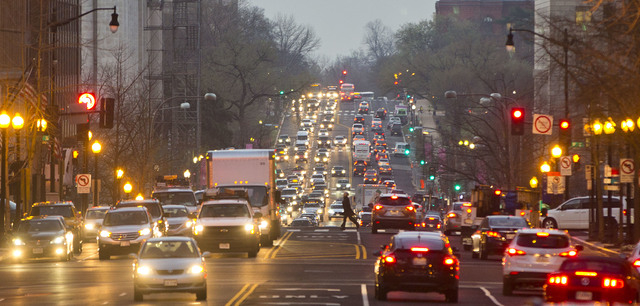 Morning traffic builds up on 14th street NW in downtown Washington, Wednesday, March 16, 2016. The Metro subway system that serves the nation's capital and its Virginia and Maryland suburbs shut d ...