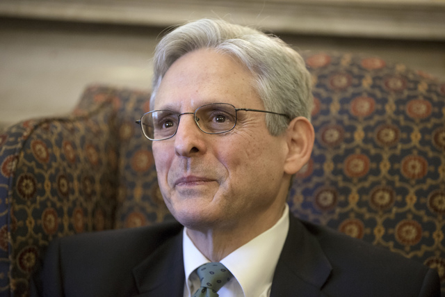 Judge Merrick Garland, President Barack Obamas choice to replace the late Justice Antonin Scalia on the Supreme Court, sits during a meeting with Sen. Patrick Leahy, D-Vt., the top Democrat on the ...