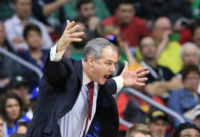 Stony Brook coach Steve Pikiell yells instructions during a first-round men's college basketball game against Kentucky in the NCAA Tournament in Des Moines, Iowa, Thursday, March 17, 2016. (AP Pho ...