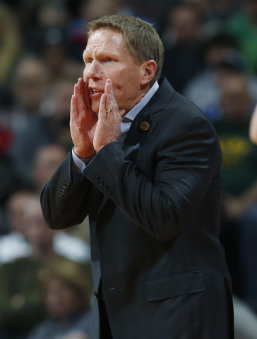 Gonzaga coach Mark Few shouts to his players during the first half of a first-round men's college basketball game against Seton Hall on Thursday, March 17, 2016, in the NCAA Tournament in Denver.  ...