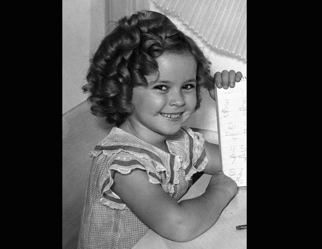 Actress Shirley Temple in Los Angeles, Sept. 10, 1935. A blue diamond ring that child star-turned-diplomat Shirley Temple wore for decades is going up for auction. (AP Photo/Marty Lederhandler, File)