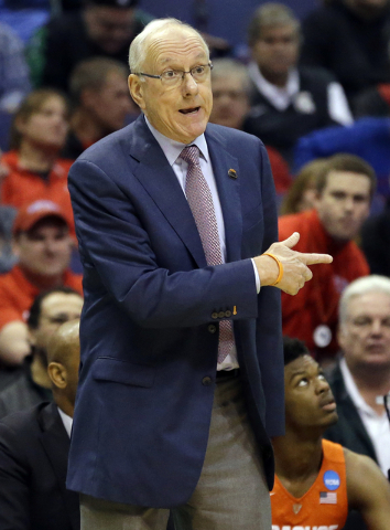 Syracuse head coach Jim Boeheim points during the first half in a first-round men's college basketball game in the NCAA tournament against Dayton, Friday, March 18, 2016, in St. Louis. (AP Photo/J ...