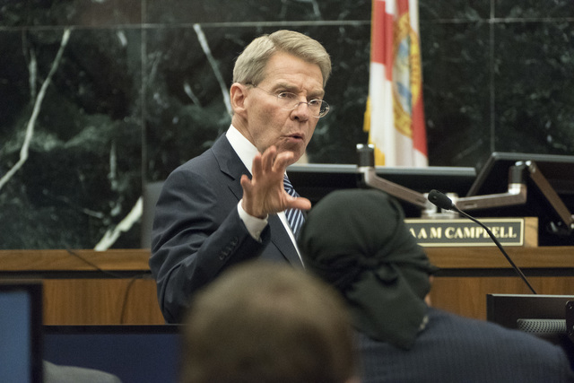 Gawker attorney Michael Sullivan address the jury during his closing statements in the trial of former professional wrester Hulk Hogan's lawsuit against Gawker media, in St. Petersburg, Fla. on Fr ...