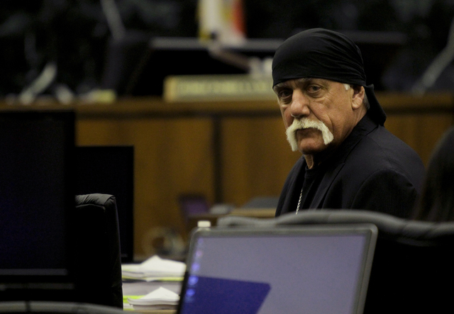 Hulk Hogan sits in court before the start of his trial Thursday, March 17, 2016, in St. Petersburg, Fla. Hogan, whose given name is Terry Bollea, and his attorneys are suing Gawker Media for $100  ...