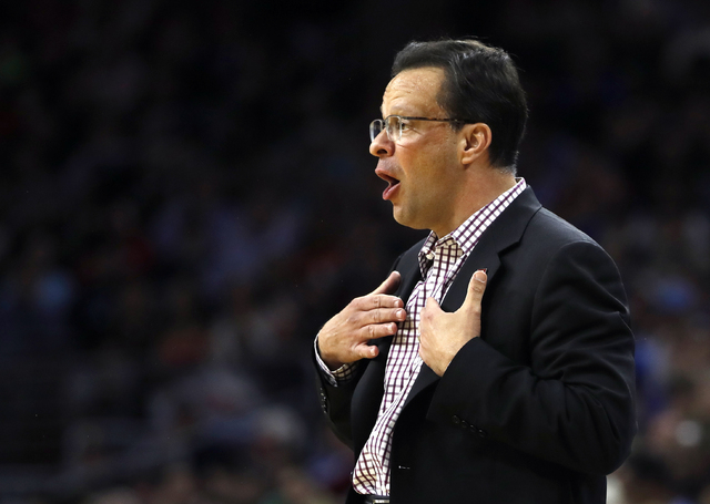 Indiana coach Tom Crean reacts during the first half of the team's NCAA college basketball game against North Carolina in the regional semifinals of the men's NCAA Tournament, Friday, March 25, 20 ...