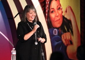 Roseanne Barr performs during her stand-up comedy show at the Tropicana's Laugh Factory on Thursday. She says the 7 p.m. show is edgy but clean.