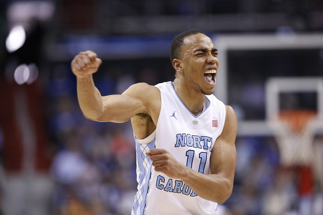 North Carolina forward Brice Johnson (11) reacts after a play during the first half of an NCAA college basketball game in the Atlantic Coast Conference tournament against Pittsburgh, Thursday, Mar ...
