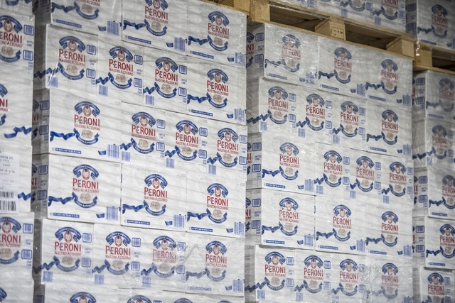 Cases of beer are seen at the warehouse inside Bonanza Beverage Company in Las Vegas on Wednesday, Feb. 17, 2016. Joshua Dahl/Las Vegas Review-Journal