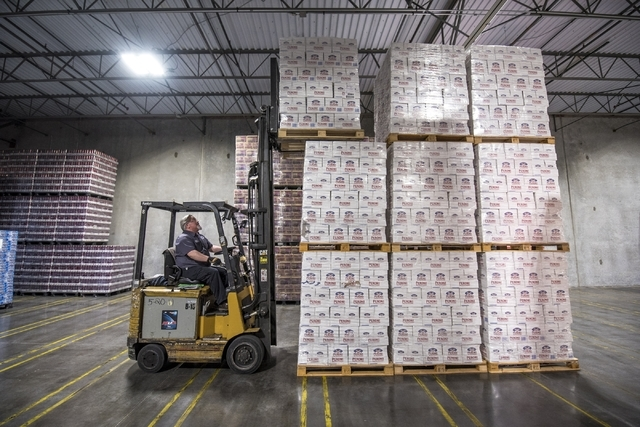 Mike Funke moves cases of beer at Bonanza Beverage Company in Las Vegas on Wednesday, Feb. 17, 2016. Joshua Dahl/Las Vegas Review-Journal