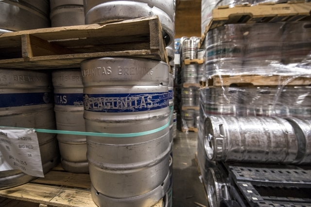 Kegs of beer are seen at the warehouse inside Bonanza Beverage Company in Las Vegas on Wednesday, Feb. 17, 2016. Joshua Dahl/Las Vegas Review-Journal