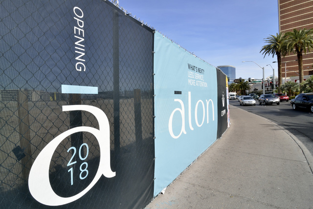 Signage for the Alon hotel-casino project is shown on the northwest corner of South Las Vegas Boulevard and Fashion Show Drive on Wednesday, March 2, 2016. Bill Hughes/Las Vegas Review-Journal