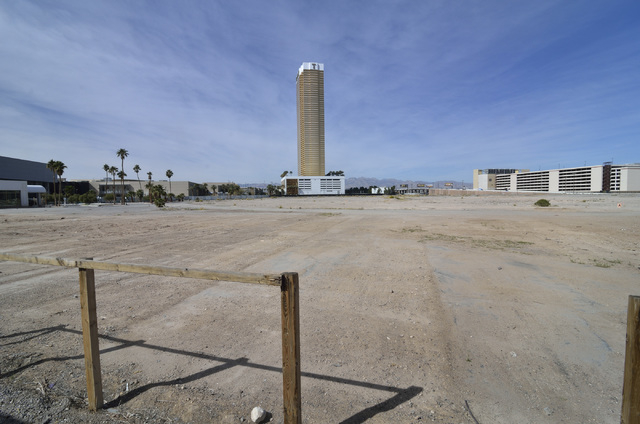 The site of the Alon hotel-casino project is shown on the northwest corner of South Las Vegas Boulevard and Fashion Show Drive on Wednesday, March 2, 2016. The Trump Hotel is shown in the backgrou ...