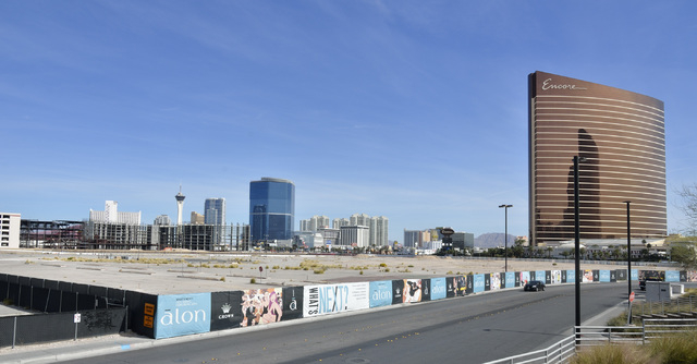 The site of the Alon hotel-casino project is shown in the foreground on the northwest corner of South Las Vegas Boulevard and Fashion Show Drive across the boulevard from the Encore hotel-casino o ...