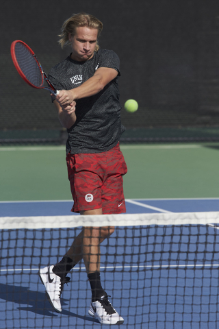 Jakob Amilon. UNLV men's tennis player action on January 18, 2016. (R. Marsh Starks / UNLV Photo Services)