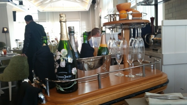 The endless mimosas cart is shown during Sunday brunch at Andiron Steak & Sea at Downtown Summerlin. Lisa Valentine/View