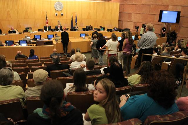 A Clark County Commission meeting inside the Clark County Commissioner chambers in Las Vegas Tuesday, March 17, 2015. (Erik Verduzco/Las Vegas Review-Journal)