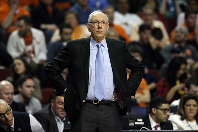 Syracuse's head coach Jim Boeheim watches during the second half of a college basketball game against Gonzaga in the regional semifinals of the NCAA Tournament, Friday, March 25, 2016, in Chicago. ...